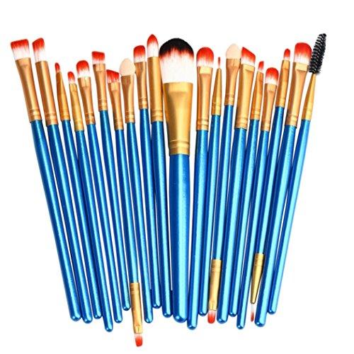 Pinceaux de Maquillage,Bekoard 20 PCS Maquillage Brosse Set Tools Make-Up Kit de Toilette Laine Make up Pinceau Ensemble (Bleu)