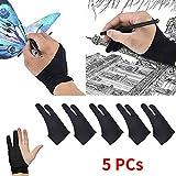 Guanto da 5 pezzi con disegno antivegetativo a due dita, supporto per tavoletta...