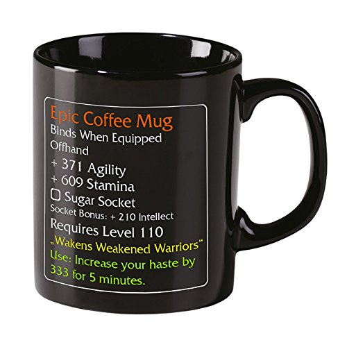 Epic Coffee Mug - Level 110 - MMO Item Fan Tasse Elbenwald Black