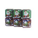 Viva-Haushaltswaren - 6 kleine Keksdosen 8x8x6,5 cm/Gebäckdosen/Weihnachtsdosen/Geschenkdosen/Metalldosen
