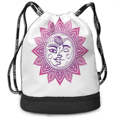 LULABE Printed Drawstring Backpacks Bags,Ethnic Vintage Floral Design Heavenly Bodies Oriental Celestial Elements,Adjustable String Closure -