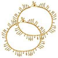 Classic Golden Chain Dangling Bollywood Pair of Traditional Indian Anklet For Women