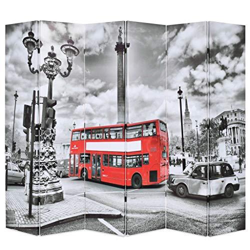 Xingshuoonline Biombo Divisor Plegable 228x180 cm Bus Londres Blanco y Negro Biombo con una Hermosa Foto Impresa de una Calle de Londres con un autobús Rojo en Ambos Lados