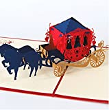 Handgemachte 3D pop-up-Pop-Karte Hochzeitspferd Wagen 2 Damen in Schwester Geburtstagskarte Valentines Karte Muttertagskarte