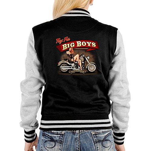 Biker Pin up Girl Damen Jacke - College Jacke Damen : Toys for Big Boys -- Collegejacke Damen / Mädchen Farbe: schwarz Schwarz