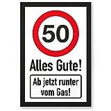DankeDir! 50 Jahre Alles Gute - Runter vom Gas - Geschenk 50. Geburtstag, Geschenkidee Geburtstagsgeschenk Fünzigsten, Geburtstagsdeko/Partydeko / Party Zubehör/Geburtstagskarte