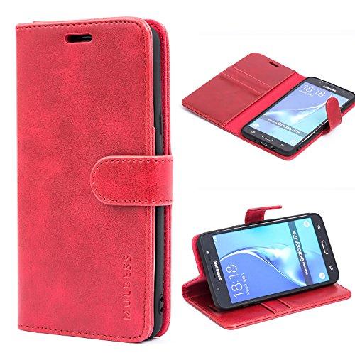 Mulbess Handyhülle für Samsung Galaxy J7 2016 Hülle, Leder Flip Case Schutzhülle für Samsung Galaxy J7 2016 Duos Tasche, Wein Rot