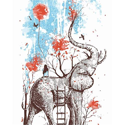 Malen Nach Zahlen Acryl Tier Diy Öl Färbung Nach Zahlen Rahmenlose Elefanten Und Mädchen Abstrakte Wandkunst Bild