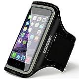 Sport Armband , Ubegood Armband Hülle Case mit Kopfhöreranschluss und Schlüsselhalter / Sport Sweatproof Armhalter Etui für iPhone 6s/6/5s , Galaxy S6 edge / S6 /S7 oder bis zu 5 Zoll (Schwarz)