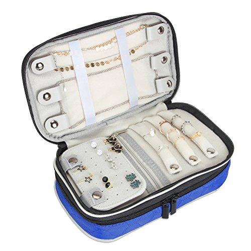 Luxja Schmuck Aufbewahrung, Reise Schmuckkästchen, Schmucktasche für Reisen, Doppelschicht Schmuckrolle Schmuck Organisator für Ringe, Halsketten, Armbänder, Ohrringe, Blau