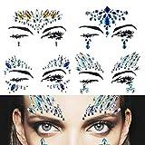 Gemme viso gioielli corpo in cristallo glitter adesivi temporanei, gioielli adesivi strass faccia per festival party rave occhi viso corpo fronte decorazioni (4 set)