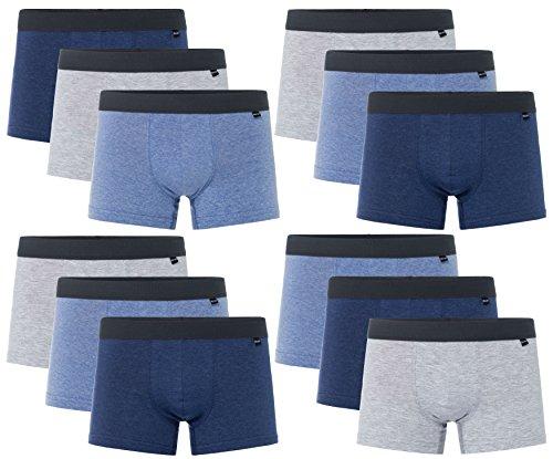 SPARPACK 12 weiche elastische Boxershort mit gesticktem Textbund in drei Jeans Farben Melange S M L XL 2XL 3XL4XL - MultiSet SparSet (Grösse XL-7 - 12 STK SET05 ) (Farben Weiche)