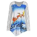 VEMOW Heißer Elegante Damen Frauen Frohe Weihnachten Plus Größe Gedruckt Spitze Patchwork Asymmetrische Party Casual Täglichen T-Shirt Tops(X1-Blau, EU-34/CN-M)