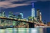 Posterlounge Acrylglasbild 120 x 80 cm: New York Skyline und Brooklyn Bridge von Sascha Kilmer - Wandbild, Acryl Glasbild, Druck auf Acryl Glas Bild