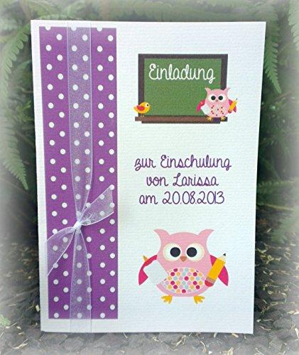 Einladung Einladungskarte Einschulung 1. Schultag Schulanfang Eule Tafel personalisierbar lila violett