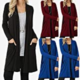 Bovake Womens Long Sleeve Cardigan Sweater Plus Size, Ladies Casual Boyfriend Drape Open Front Length Maxi Cardigans Hem Open Top Pockets Loose Drape Long Cardigan