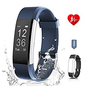 Fitness Tracker for women, RONTEN Heart Rate Monitor Activity Tracker+APP 14 Training Modes 0.96'' OLED 8 days Standby Waterproof Smart Wristband, Bluetooth Wireless Activity Bracelet with Replacement Strap for Android and IOS iPhone 5/6/7/8 Plus X in purple blue (black+blue)