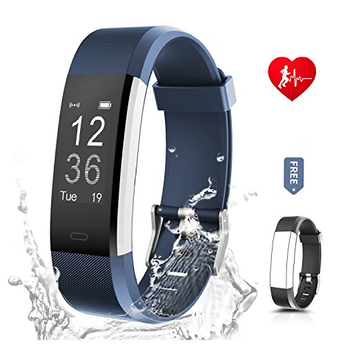 "Fitness Tracker Unisex RONTEN Heart Rate Monitor Activity Tracker+APP 14 Training Modes 0.96"" OLED 8 days Standby Waterproof Smart Wristband, Bluetooth Wireless Activity Bracelet with Replacement Strap for Android and IOS iPhone 5/6/7/8 Plus X in purple/blue"
