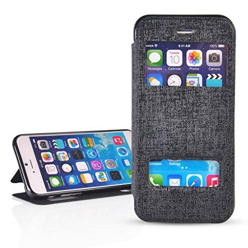 UKDANDANWEI Bookstyle Leder Tasche Flip Case Cover Schutzhülle Etui Hülle Schale mit Fenster Ansicht Für iPhone 6 (4.7 Zoll) Gelb Schwarz