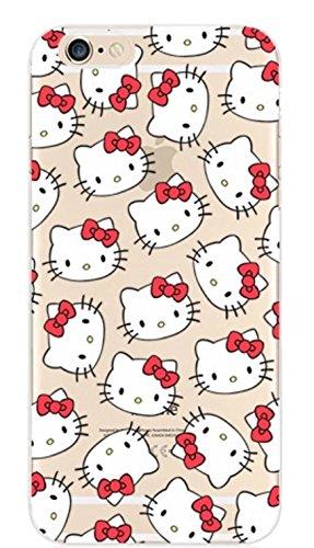 Phone Kandy® Claro transparente Caso de Shell duro de la piel y la pantalla del protector para el iPhone de la historieta carcasa funda (iPhone X, Hello Kitty)