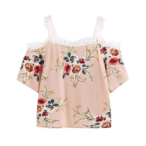 Abbigliamento Donna, ASHOP Abbigliamento 2018 T Shirt Donna Manica Corta, T-Shirt da Donna Casual a Maniche Corte in Pizzo Floreale Cachi