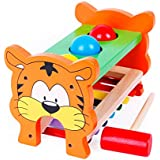 tiger Pound & Tap Bench with Slide out Xylophone Hammer sticks and Balls Set