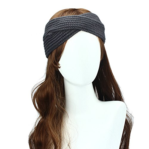 Amison Boemia Tessitura Croce Fascia per capelli, stile semplice Inverno Donna Hairband mano (Grigio scuro)