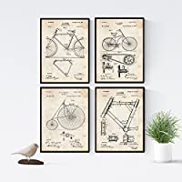 Nacnic Vintage - Pack de 4 láminas con Patentes de Bicicletas. Set de Posters con