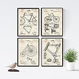 Nacnic Vintage - Pack de 4 láminas con Patentes de Bicicletas. Set de Posters con inventos y...