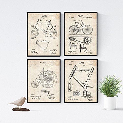 Nacnic Vintage - Pack de 4 láminas con Patentes de Bicicletas. Set de Posters con inventos y Patentes Antiguas. Elije el Color Que más te guste. Impreso en Papel de 250 Gramos