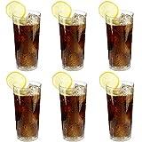 6 x bruchfestes Softdrinkglas ca. 350 ml, Longdrinkglas, Saftglas, Wassergläser Set aus hochwertigem Kunststoff (Polycarbonat), edle Gläser für Camping, Partys (wie echtes Glas)