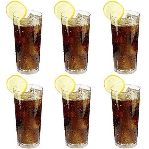 Geschirr Unzerbrechliches Glas (6 x bruchfestes Softdrinkglas ca. 350 ml, Longdrinkglas, Saftglas, Wassergläser Set aus hochwertigem Kunststoff (Polycarbonat), edle Gläser für Camping, Partys (wie echtes Glas))