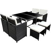 Poly Rattan Essgruppe Rattan Set Mit Glastisch Garnitur Gartenmöbel  Sitzgruppe Lounge (4 Stühle, Schwarz