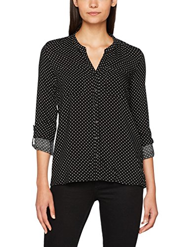 ONLY Damen Bluse 15141366, Mehrfarbig (Black AOP:W. Cloud Dancer Dots), 38 (Dots Runder Muster Kragen)