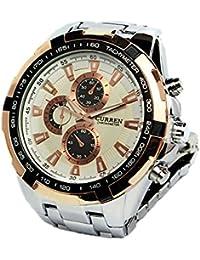Reloj de hombre - CURREN Reloj de pulsera de acero inoxidable de hombre (Correa de plata & Esfera Blanca&puntero de oro)