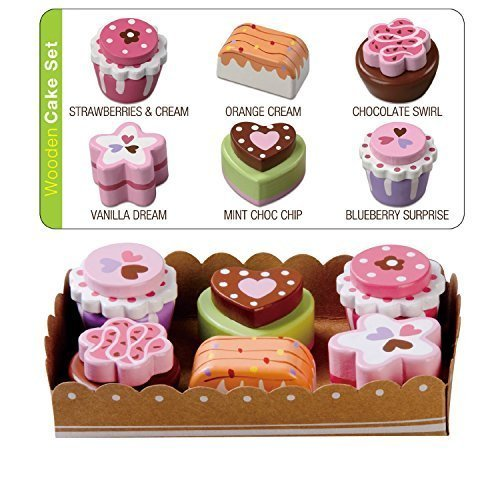 Kuchen in der Serviertablett, 6 Stücke aus holz