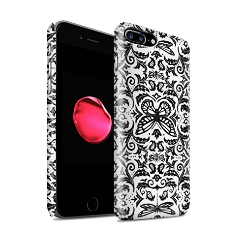 STUFF4 Matte Snap-On Hülle / Case für Apple iPhone 8 Plus / Lila Muster / Insekten Muster Kollektion Schwarz / Weiß