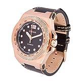 Otumm Automatic AUA001 Rose Goldene 45mm Schwarz Leder Armband Uhr