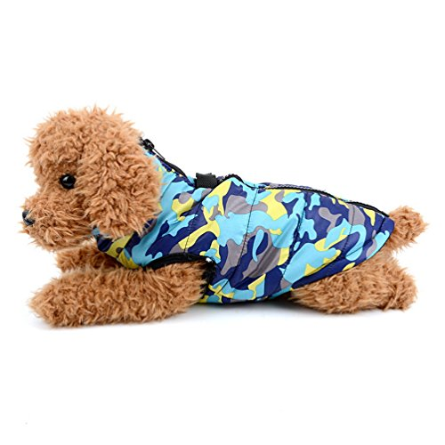 smalllee _ Lucky _ store bfl081-blue-s klein Hunde Softgeschirr Jacke Steppweste Mantel, Blau Camo, klein