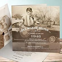Einladung 70 Geburtstag Gestalten, Alte Zeiten 70 15 Karten, Quadratische  Klappkarte 145x145 Inkl.