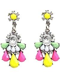 Yazilind charme color' goutte d'eau clair Cristal Boucles d'oreilles Les femmes cadeau