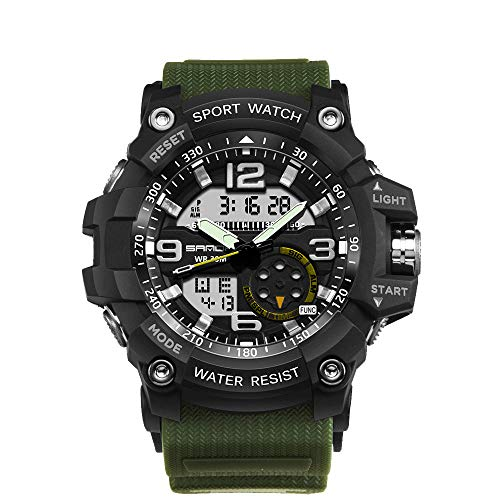 AFYH Armbanduhr Military Sport Uhren für männer Display led licht analog digital groß Herren Digitale Armbanduhr Geeignet für Straßenliebhaber und Unisex,Chrome - Chrome Digital Uhr
