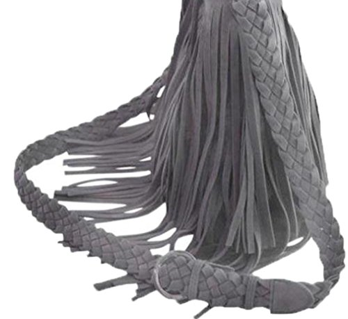 Aimerfeel-Damen Wildleder-Tasche mit 2-Tier von Quasten in schwarz, grau, lila oder gelb Grau