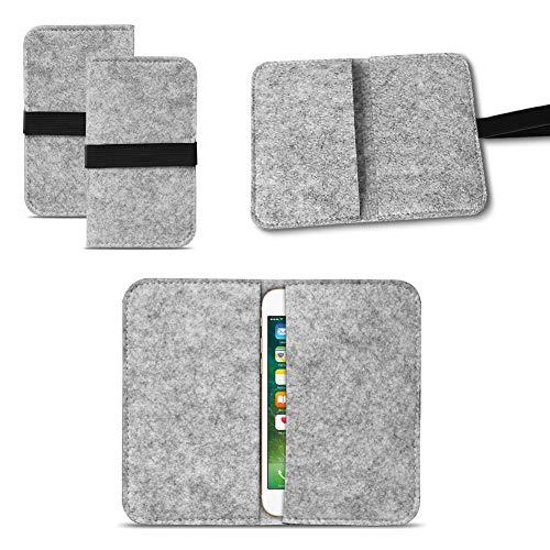 UC-Express Universal Smartphone Cover Tasche Handytasche Case Hülle Schutzhülle Sleeve Filztasche mit Kartenfach, Farbe:Hell Grau, Smartphone:Allview P5 Lite
