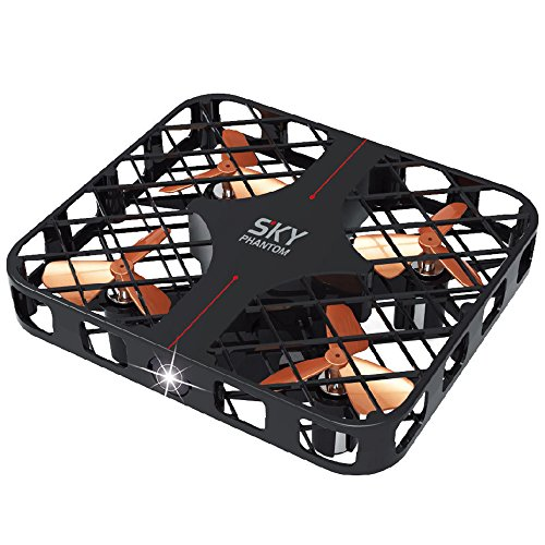 Mini RC Quadricottero 2.4Ghz 4CH 6-Axis SKY PHANTOM Con Gyro/3D Roll/Interruttore Di Velocità/Luce LED/Cornice Protettiva RTF.ZHA-GOO,Black