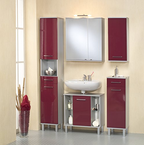 Kesper Badmöbel 9770910303401000 Waschbeckenunterschrank Prato, 2 Türen, 67 x 65 x 31,5 cm, alu / rot - 2