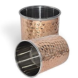 DakshCraft Hammered Copper Tumblers, Set of 2