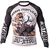 Tatami Fightwear Long Sleeve Rash Guard for Jiu Jitsu, Thinker Monkey Design, Breathable Compression Sport Top Gym Shirt