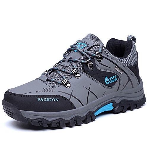GOMNEAR Männer Breathable Big Size Wanderschuhe Leichtes Sneaker für Camping Athletic Outdoor Running Sport Trail Reise Klettern Walking von (EUR 43=UK8, Grau)