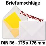 Briefumschläge DIN B6 - 125 x 176 mm - Transparent-Weiß | 50 Stück | Durchsichtige Umschläge | EXTRA QUALITÄT - 92 g/m² | - milchig transparent - Nassklebung - Qualitätsmarke: GUSTAV NEUSER